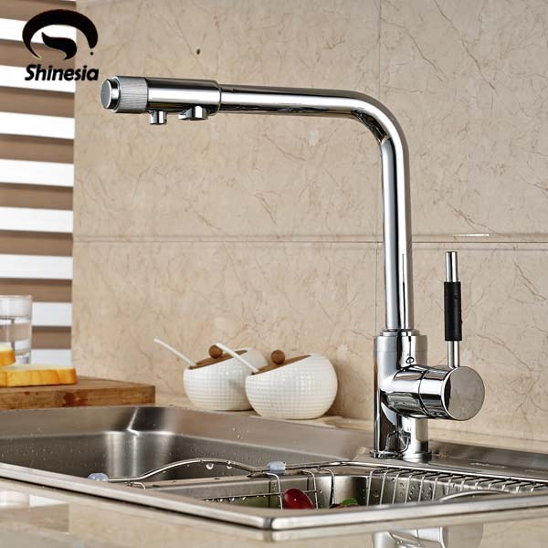 Chrome Brass Kitchen Faucet Pure Water Deck Mounted Sink Mixer Tap Hot and Cold Water 100% brass chrome polished hot and cold water purifier tap 3 way kitchen sink mixer faucet 2 holes drinking water tap kf042