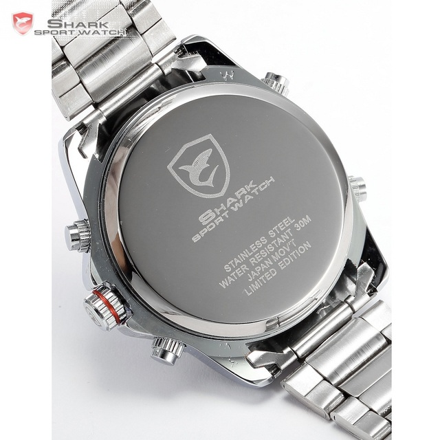 Mako SHARK Sport Watch Brand Luxury Silver Men's Army Digital LED Calendar Alarm Electronic Waterproof Steel Watches Male /SH003