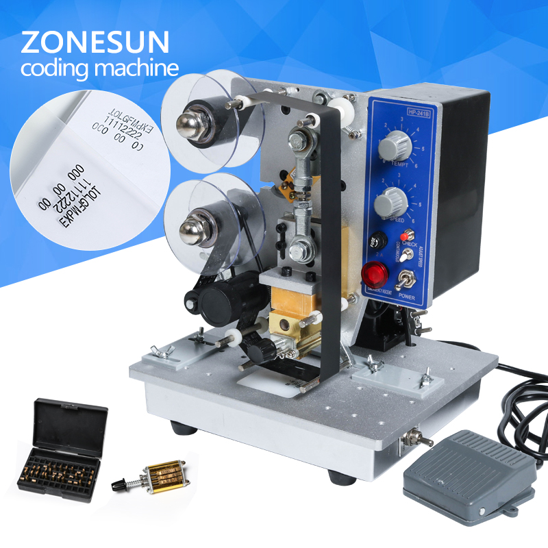 ZONESUN Easy to operate Semi-automatic Electric Coding Date Printer HP-241B Color Ribbon  Printing Machine semi automatic electric hot stamp ribbon coding printer machine coder hp 241b