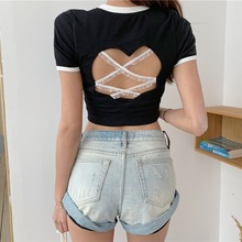 Sexy Women T-Shirts Summer Hollow Out Tshirt Backless Short Sleeve Cute Top Kawaii Harajuku Best Friends Tops Tee Black White