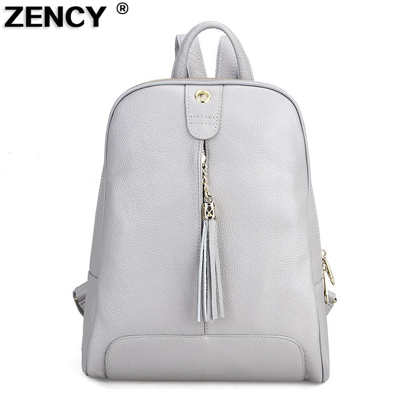 ZENCY Fashion Soft Real Genuine Leather Women Backpacks Ladies Girls Cow Skin School Casual Shopping Shoulder Tassels Bag Female zency genuine leather backpacks female girls women backpack top layer cowhide school bag gray black pink purple black color