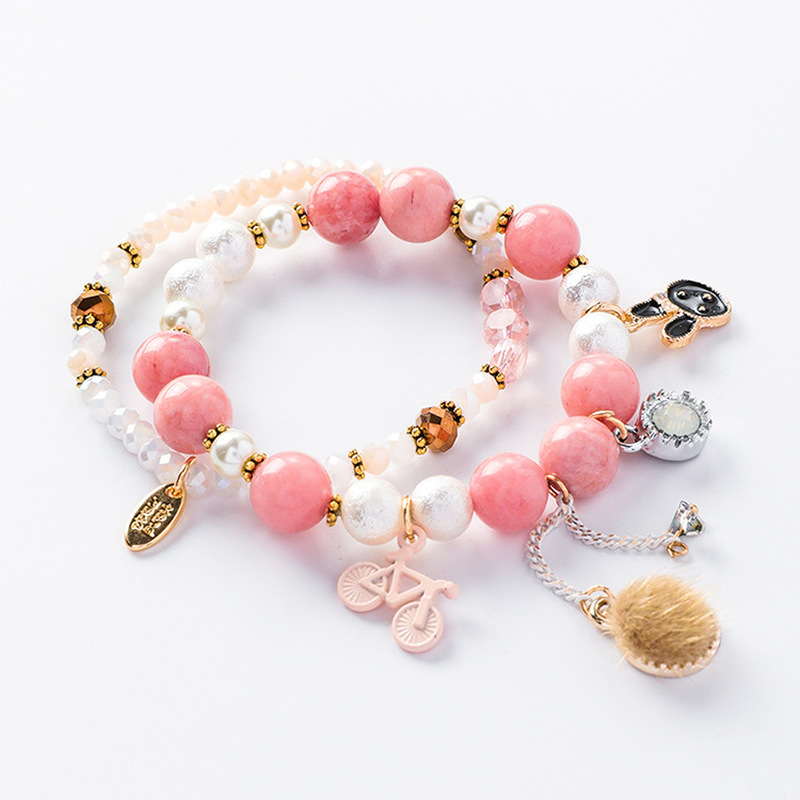 2018 New Korean Girl Tassel Flower Imitation Pearl Crystal Beads Prince Rabbit Bracelets for Women Fashion Jewelry Accessories