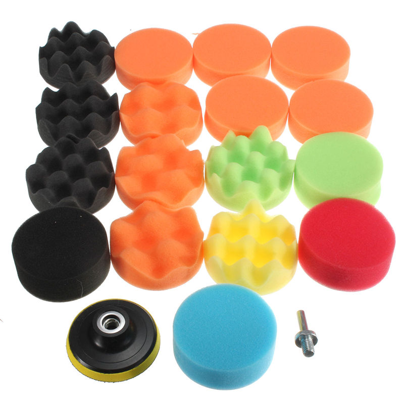 Lowest Price 19Pcs 80mm High Gross Polishing For Buff Pad Kit For Car Polisher+Drill Adapter-M10 Polishing Pads 3inch