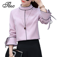 TLZC Pink Sweet Lady Blouse Chiffon Tops Size S XL New Trend Europe Style Elegant Women