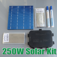 250W DIY Solar Panel Kit 6×6 156 polycrystalline poly solar cell tab wire Bus wire Flux pen Junction Box WY