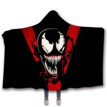 Marvel The Avengers Amazing Spiderman Venom printing Hooded blanket children Thicken cloak Magic Hat Throw Blanket deken