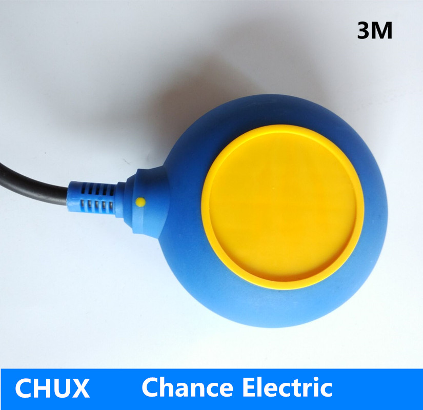 3m cable Float Switch for Industry liquid Fluid Level Sensor yellow blue color round type float switch pump (CX-M15-3)