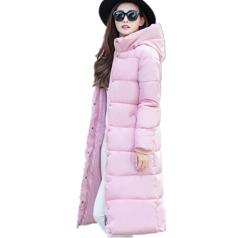 Plus Size 4XL Winter Long Jacket Women Coat Warm Hooded Slim   Parka   Down Cotton Jacket Women Padded Outerwear Winter Jacket Z72