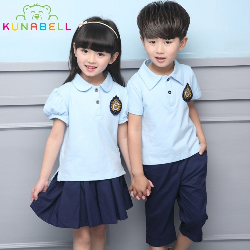 Children School Clothes Girls Boys Uniforms Sets Cotton T-shirt +Pants Tutu Skirt Performing Suits L207
