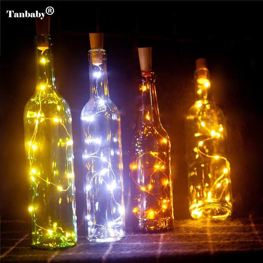 Tanbaby2M 20LED Wine Bottle Light Cork Shape Battery