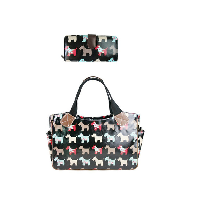 1 Set Bag Purse Women Men Scottie Dog Oilcloth Handbags Tote Bags Long