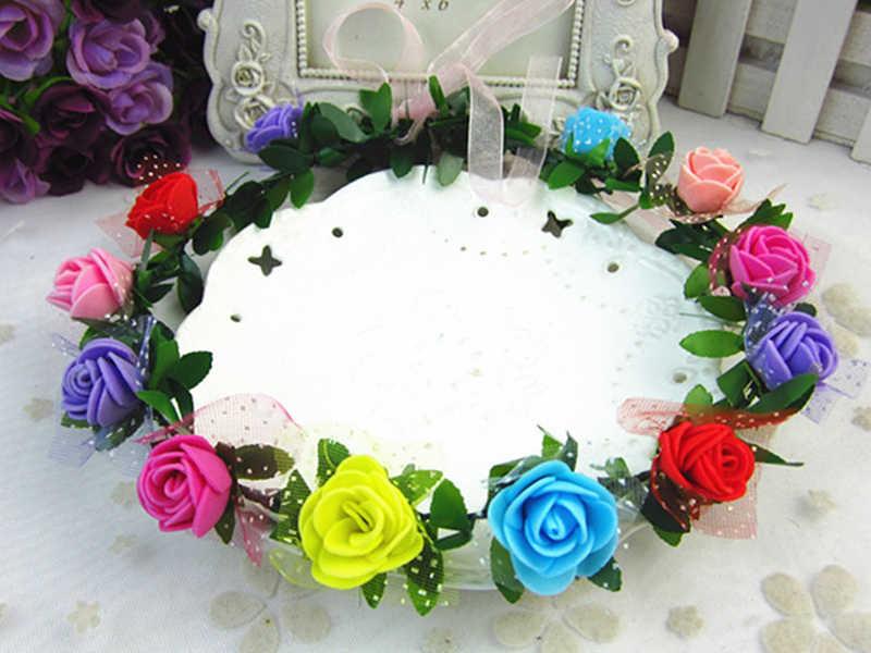 ファッションフラワー髪飾り女性ローズクラウン帽子ウェディングブライダルヘア花輪アクセサリーフェスティバル花輪リボンヘアバンド