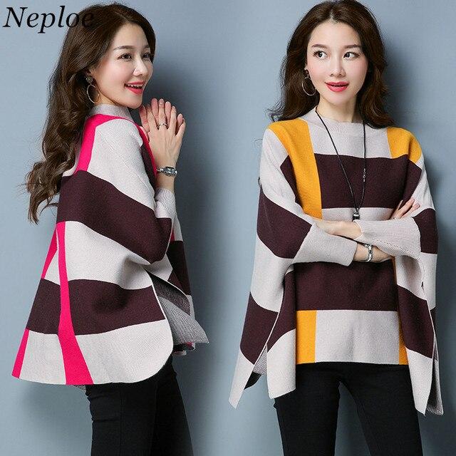 Neploe Frauen Pullover Plus Größe Gestrickte Pullover und Pullover Rollkragen Plaid Poncho Batwing Cape Jumper Wintermantel Outwear
