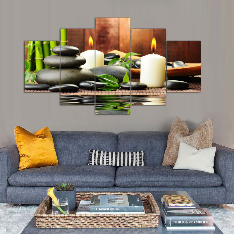 Green bamboo and stone canvas painting white candle still for 10x20 living room