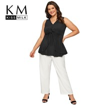 Kissmilk Plus Size Women Clothes Simple Sleeveless V-neck Front Pleated Ruffled High Waist Top