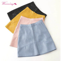 Autumn Winter Women New Style High Waist PU Faux Leather Women Skirt Pink Yellow Black Blue