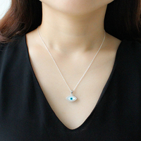 Turkey Evil Blue Eye Necklace 925 Sterling Silver Mother Of Pearl CZ Stone Women Turkish Fashion