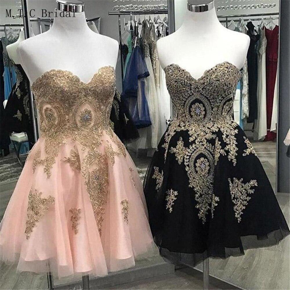 2019 Short   Prom     Dresses   Chic Gold Lace Appliques Knee Length A Line Exquisite Evening Gowns Cheap Women Wedding Party   Dress