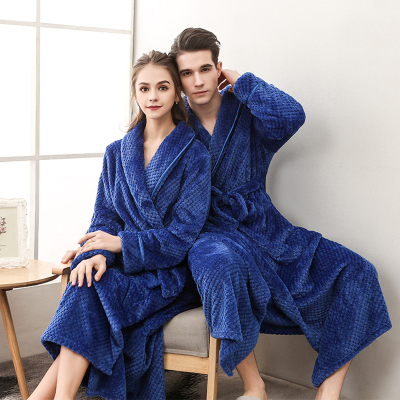 Women Men Flannel Bath Robe Sleepwear Winter Solid Couple Bathrobe Dressing Gown Thick Warm Long Female Robe