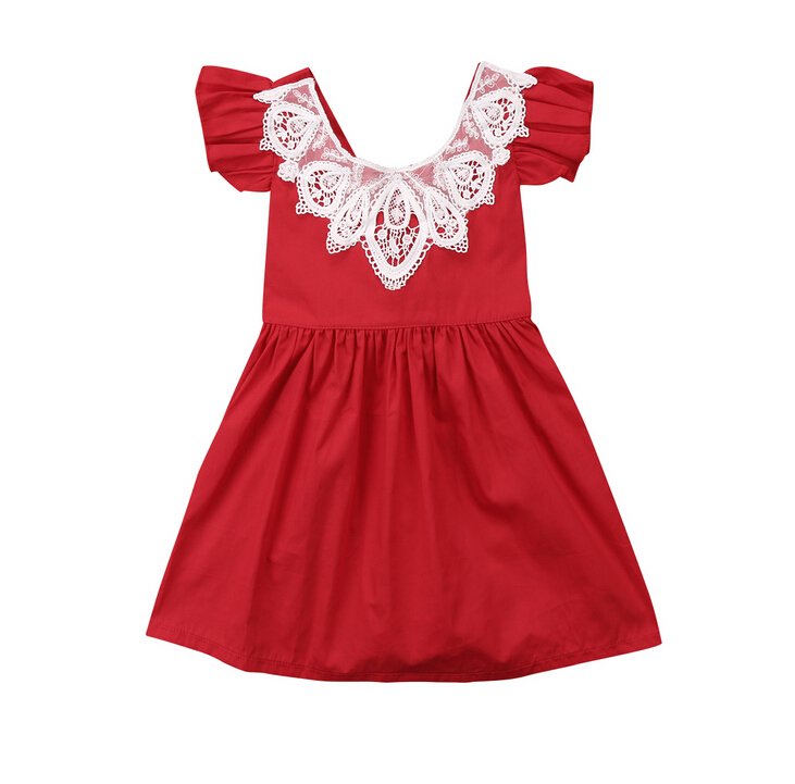 Summer Cute Kids Baby Girls Lace Dress Clothes Ruffles Back Lace Up Party Princess Tutu Dresses Outfits Yellow Red