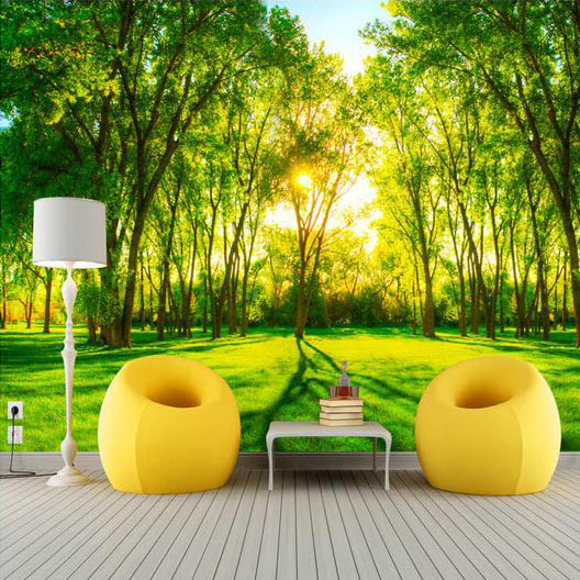 Free Shipping Green Forest Scenery Wallpaper Living Room Bedroom TV Sofa Background KTV Bar Wall Murals