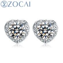 ZOCAI 0.47 CT CERTIFIED I-J / SI DIAMOND AESTHETICISM HEART SHAPE DIAMOND STUD EARRINGS 18K WHITE GOLD E00763