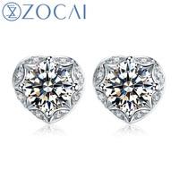 ZOCAI 0 47 CT CERTIFIED I J SI DIAMOND AESTHETICISM HEART SHAPE DIAMOND STUD EARRINGS 18K