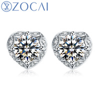 ZOCAI 0 47 CT CERTIFIED I J SI DIAMOND AESTHETICISM HEART SHAPE DIAMOND STUD EARRINGS 18K