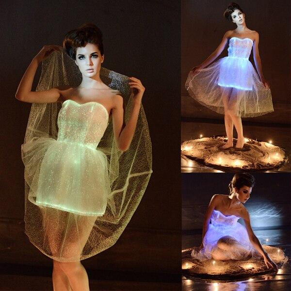 2017 femmes costumes vestidos clignotant led lumineux vêtements lumineux sexy robe carnaval fête robe femmes