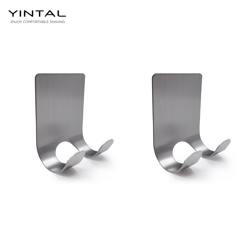 YINTAL 2pcs/lot Safety Razor Hook Double-sided Classic Razor Bathroom Adhesive Holder Shaving Accessories 304 Stainless Steel