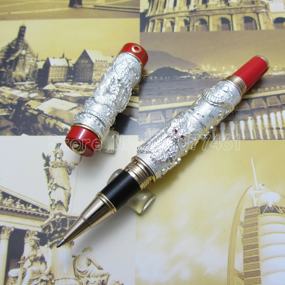 Jinhao Chinese double Dragons Playing With The Pearl Heavy pen Advanced Roller ball Pen with Gift Box Silver Gold J35K3 luxury roller ball pen  jinhao chinese