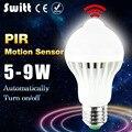 Bombilla led pir motion sensor bombilla 5 w 7 w 9 w bombilla de inducción fría/Blanco cálido Auto Inteligente de Iluminación LED E27 Lámpara Del Sensor Infrarrojo Del Cuerpo