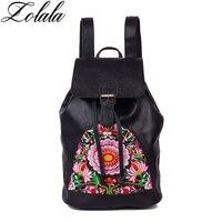 ZOLALA Brand Women 100 Genuine Leather Backpack Laptop Bag Women Handmade Embroidered Travel Bags Schoolbag Backpacks
