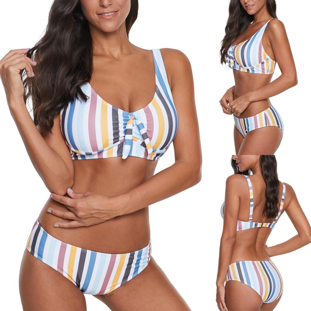 Dámské plavky bikiny (STRIPED style) dvojdielne pásikovaný vzor biele 4