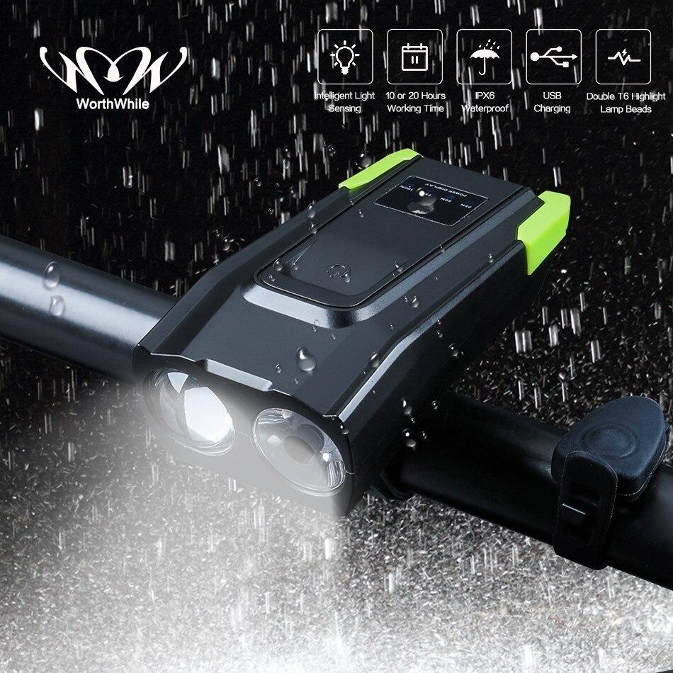 Lohnende Smart Fahrrad Front Licht Sensing Intelligente Taschenlampe für Fahrrad Zubehör mit Lautsprecher USB Lade Radfahren Lampe