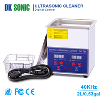 Digital Ultrasonic Gun Cleaner Heated 2L 60W 40KHz Ultrasonic Jewelry Cleaner with Basket for Parts Denture Brass Eyeglass Ring