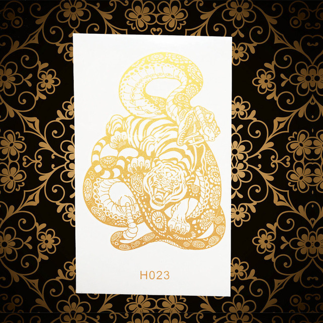 Gold Tiger Snake Kampf Tattoo Aufkleber Frauen Männer Totem