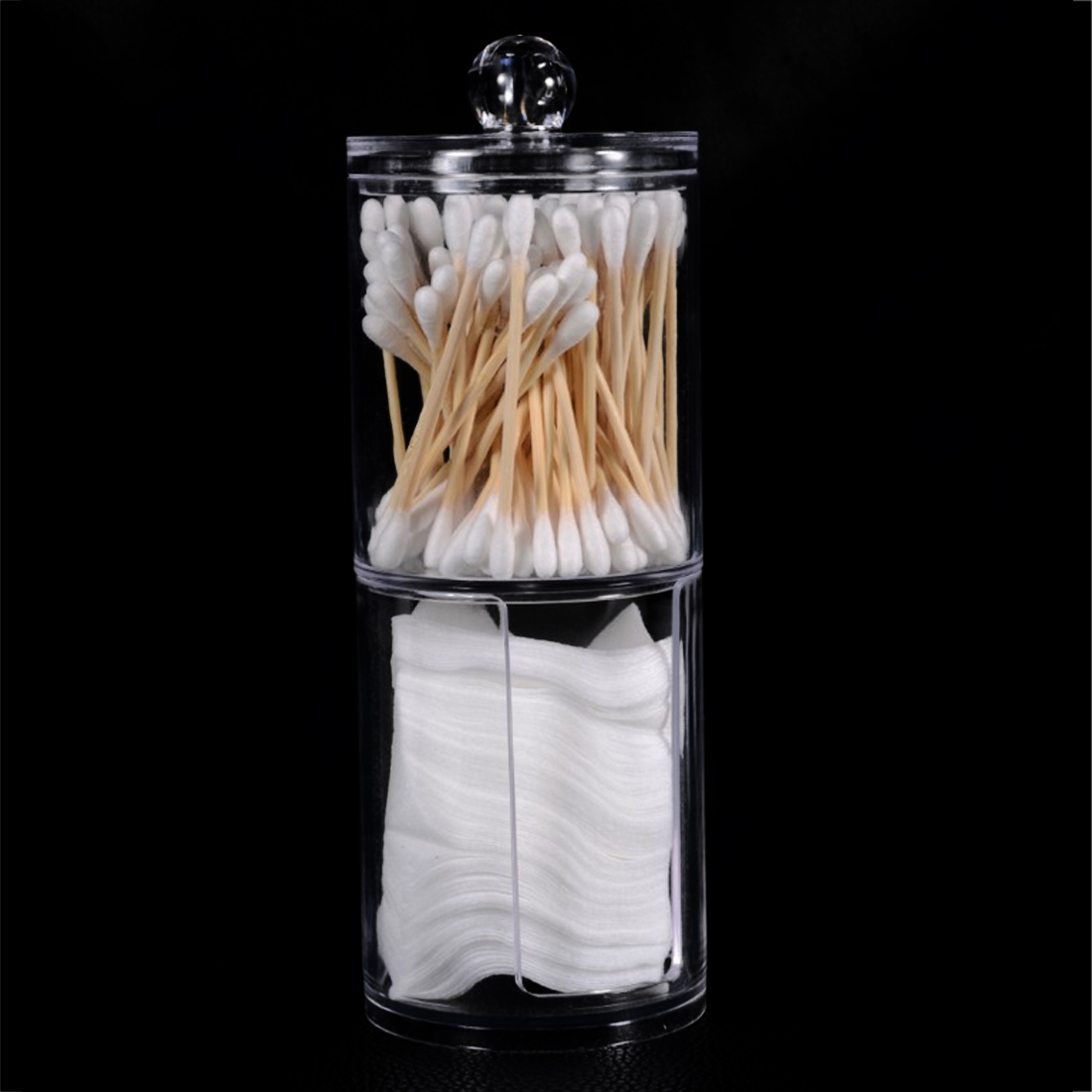 2 Layers Trabsperate Clear Acrylic Cotton Swab Organizer Box Protable Cosmetics Round Container Makeup Pad Storage Case