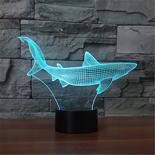 3d led cool shark night light 7 colors changing animal fish table 3d led cool shark night light 7 colors changing animal fish table lamp usb touch light aloadofball Image collections