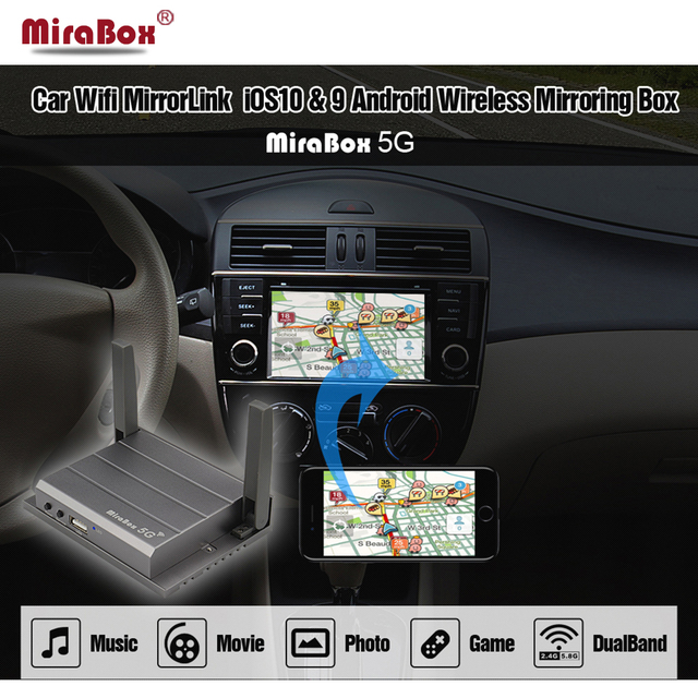 Mirabox 5G lusterko samochodowe link Box dla iOS12 z portami HDMI i CVBS (AV) lusterko samochodowe link Box dla androida wsparcie Youtube