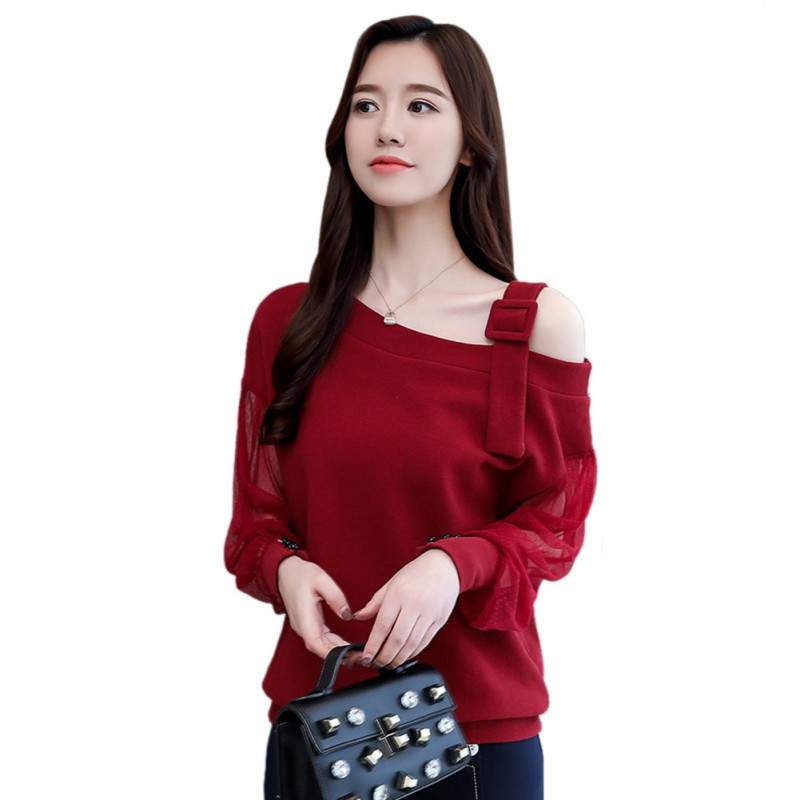 Women Sexy Lace Splicing Blouse Hollow Out  Long Sleeves Shirt New Autumn Solid Color Blouse Skew Collar Tops Female