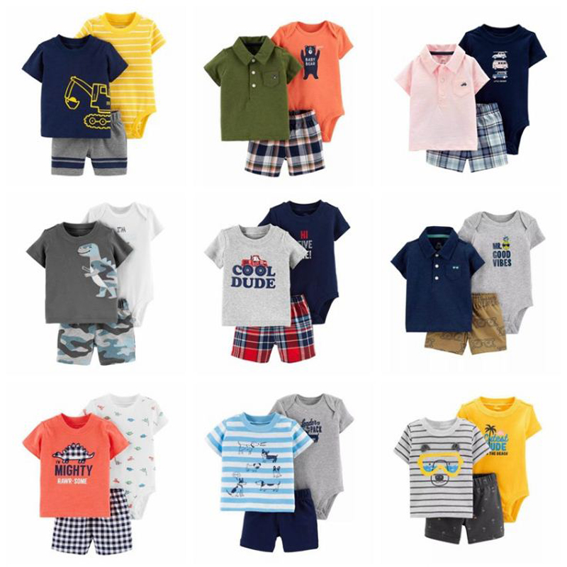 Cartoon Tshirt Tops+bodysuit+shorts For Baby Boy Clothes Newborn Set 2019 Summer Outfit New Born Clothing Suit Tracksuit Costume