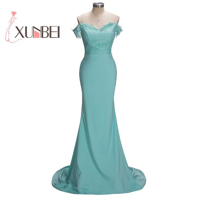 Robe demoiselle d\'honneur Off Shoulder Mermaid Teal Blue Lace Long ...