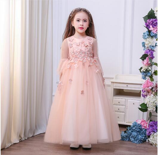 Girl's Long Formal Dress 2017 Autumn Flower Girls Princess Dresses Kids Lace Gauze Evening Party Wedding Children's Dancewear long criss cross open back formal party dress