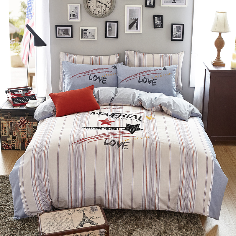 3/4pcs 100%Cotton fashion printed embroidery Bedding set comfortable Duvet Cover set Bedsheet Pillowcases Twin Queen King Size