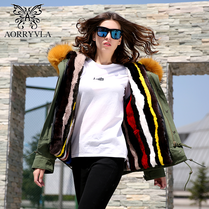 AORRYVLA Short Real Fur Parka Women Winter 2017 Army Green Large Raccoon Fur Collar Hooded With Rabbit Fur Lining Warm Jacket faux rabbit fur brown mr short jacket sleeveless with big raccoon collar fall coat