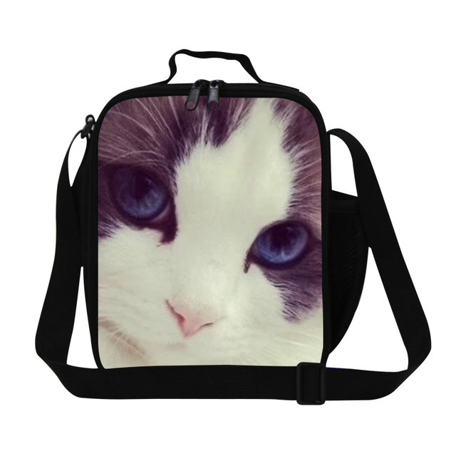 Personalized Cat print insulated lunch bag for women work,girls cool lunch container,ladies cute food bag square polyester bags