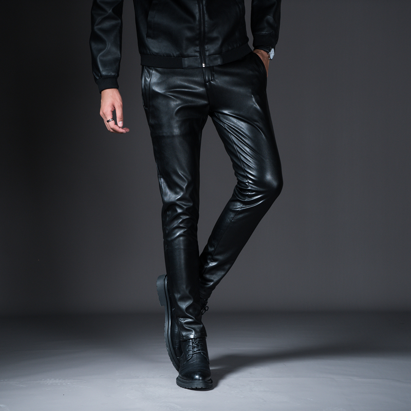 New Winter Spring Men's Skinny Leather Pants Fashion Faux Leather Trousers For Male Trouser Stage Club Wear Biker Pants 23