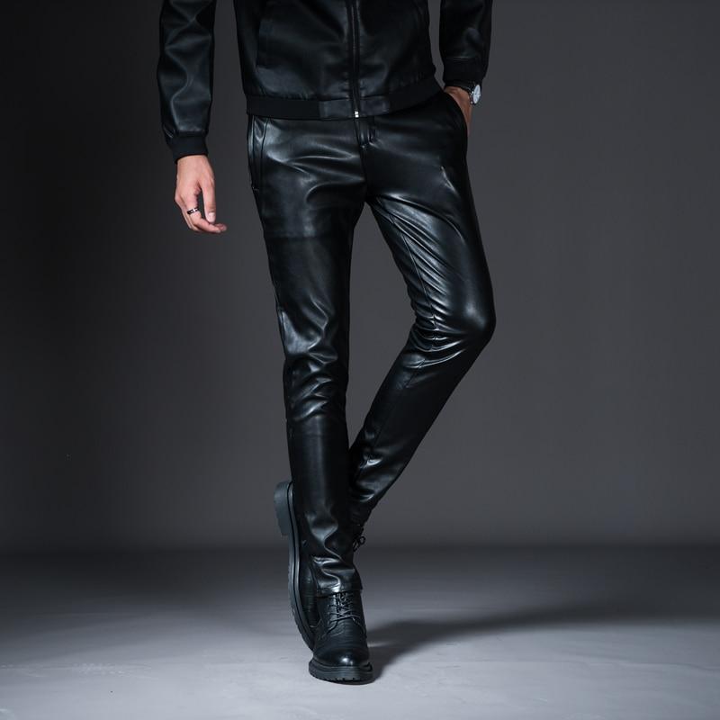 HTB1rSc9XOfrK1RjSspbq6A4pFXaj New Winter Spring Men's Skinny Leather Pants Fashion Faux Leather Trousers For Male Trouser Stage Club Wear Biker Pants