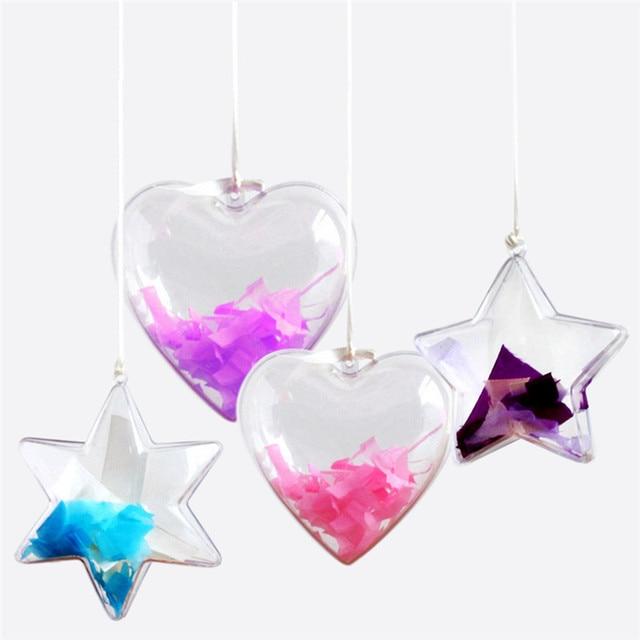 Romantic Design Christmas Decorations Transparent Star Heart Shape Plastic Clear Bauble Ornament Gift Present